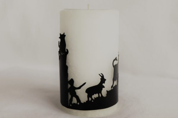 Handicraft candle by Schulthess Kerzen from Switzerland. White color with a metallic ring
