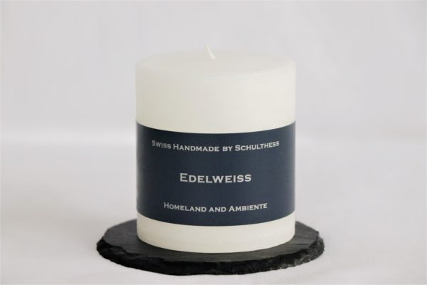 Handicraft scented candle by Schulthess Kerzen from Switzerland. White color with soft andfreshEdelweiss