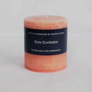 Handicraft scented candle by Schulthess Kerzen from Switzerland. Orange color with floral scent