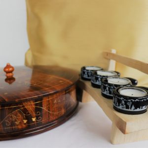 Handicraft Gift set with wood bowl, cushion covers and fondue set