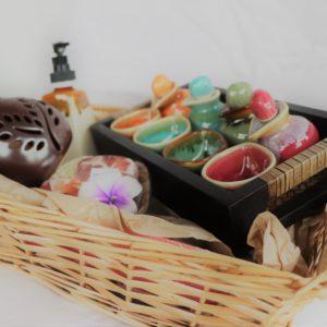 Handicraft Gift set with Spa set, soap set, oil candle burner and soap dispenser