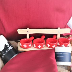 Handicraft Gift set with scented candle, cushion covers and Fondue set